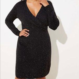 LOFT Plus Flecked Wrap Sweater Dress. NWT. Black